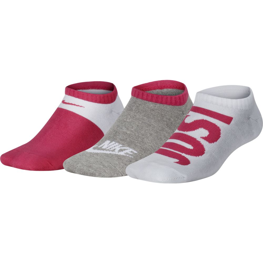 Nike Kids Performance Cushion No-Show Socks 3 Pack White / Pink / Grey