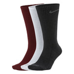 Nike Everyday Plus Cushion Crew Socks 3 Pack Red / White / Grey - achilles heel