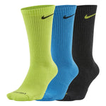 Nike Everyday Plus Cushion Crew Socks 3 Pack Lime / Blue / Grey - achilles heel