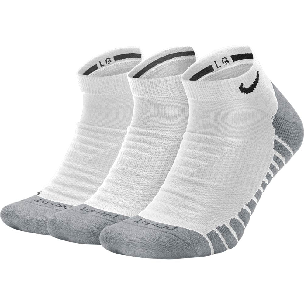 Nike Everyday Max Cushion No-Show Socks 3 Pack White / Wolf Grey / Black - achilles heel