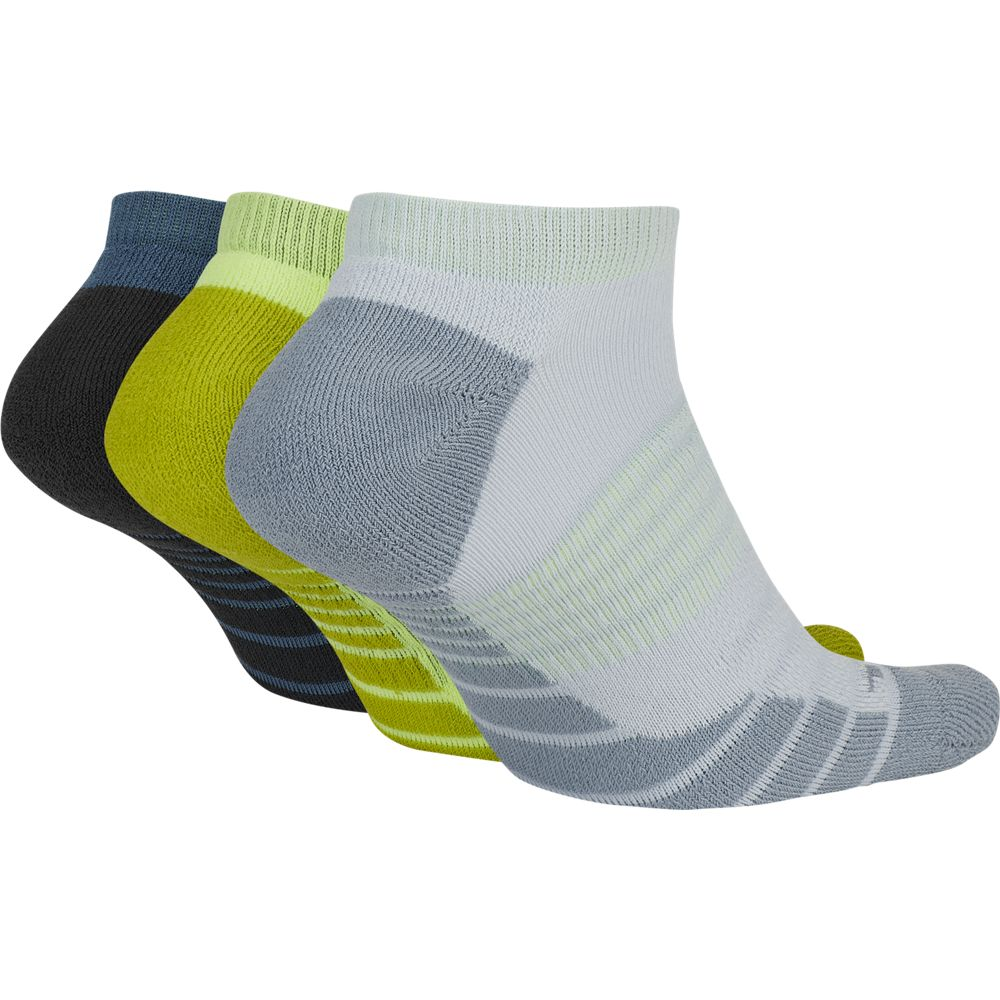 Nike Everyday Cushioned No-Show Socks 3 Pack Green / Volt / Grey - achilles heel