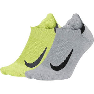 Nike Multiplier No-Show Running Socks 2 Pack Lime / Grey - achilles heel