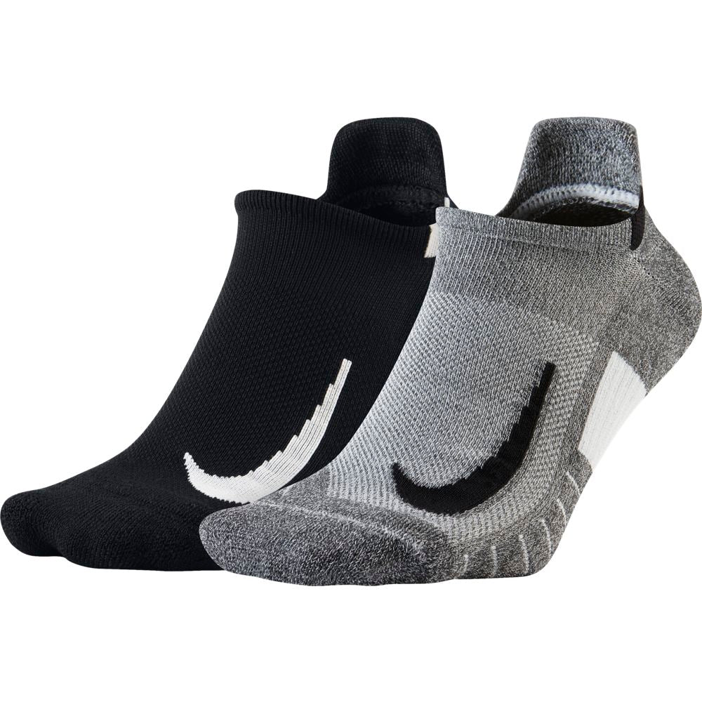 Nike Multiplier No-Show Running Socks 2 Pack Black / Grey - achilles heel