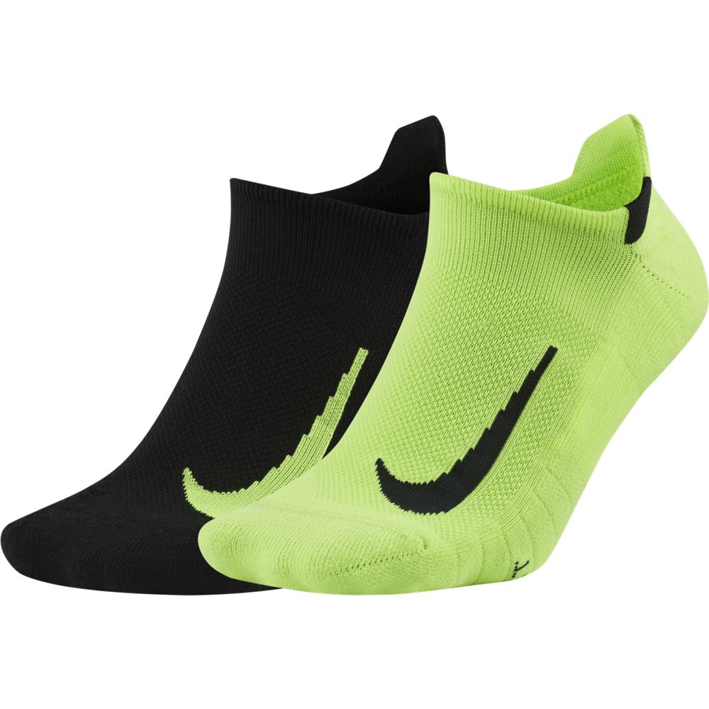 Nike Multiplier No-Show Running Socks 2 Pack Volt / Black - achilles heel
