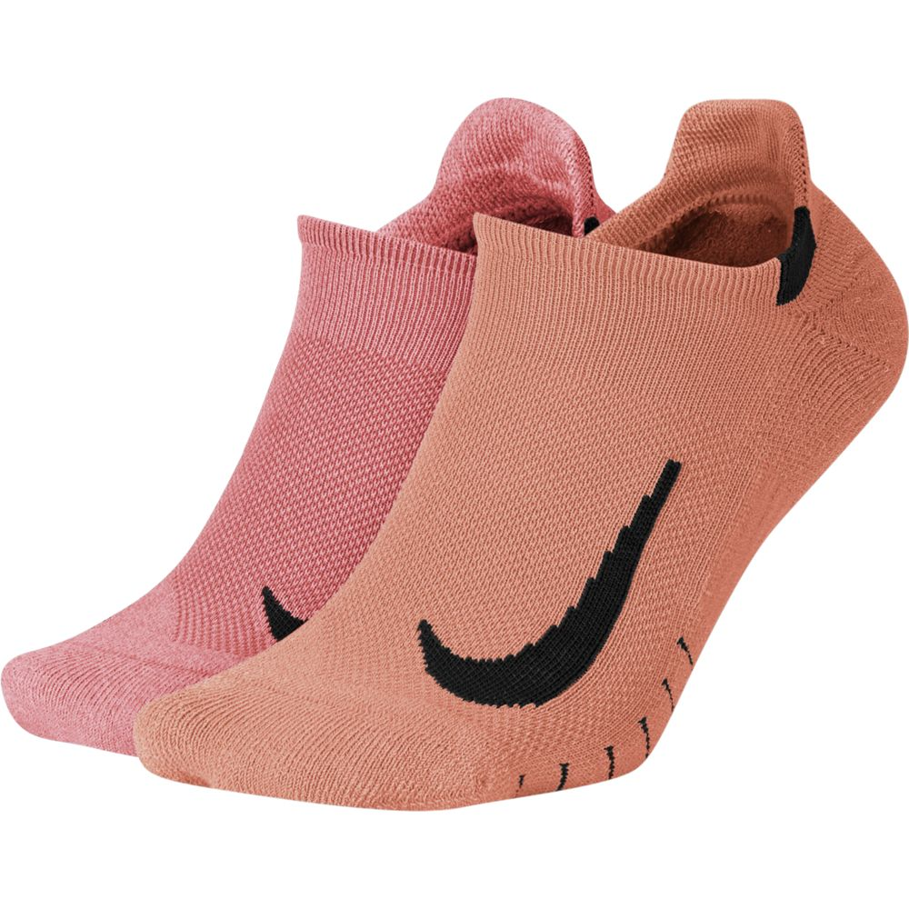 Nike Multiplier No-Show Running Socks 2 Pack Pink / Peach - achilles heel