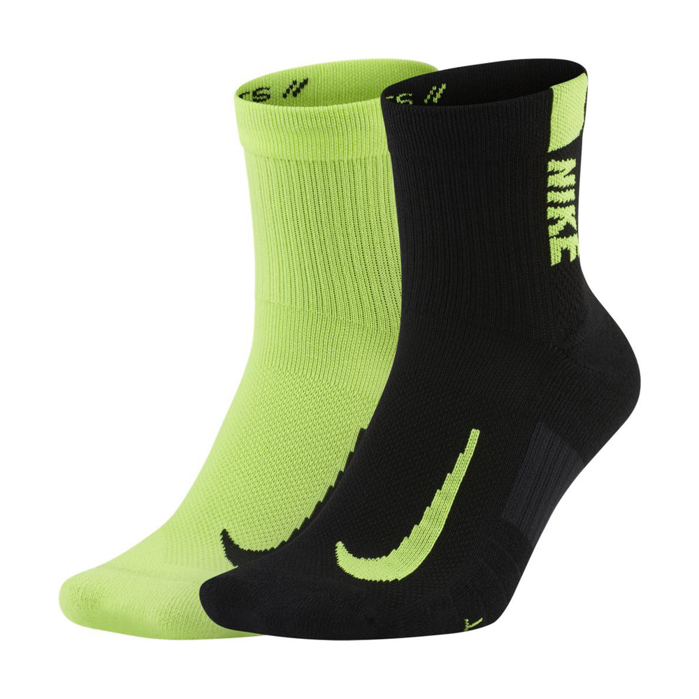 Nike Multiplier Ankle Socks 2 Pack Volt / Black - achilles heel