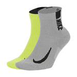 Nike Multiplier Ankle Socks 2 Pack Lime / Grey