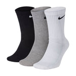 Nike Cushion Cotton Crew Socks 3 Pack Grey / White / Black - achilles heel