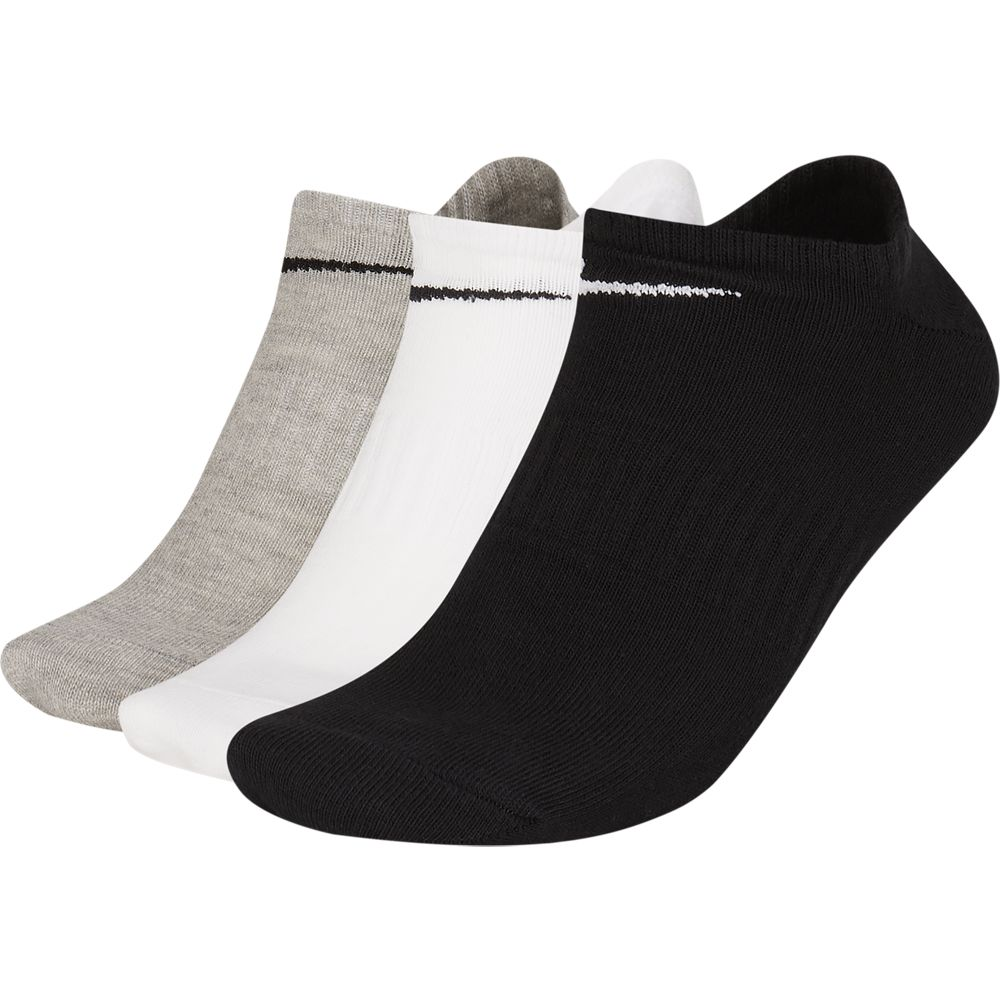 Nike Everyday Lightweight No-Show Socks 3 Pack Grey / White / Black - achilles heel
