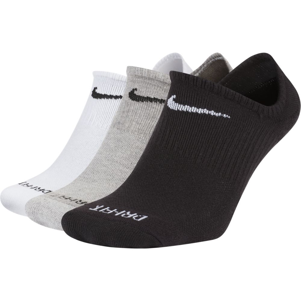 Nike Everyday Plus No-Show Socks 3 Pack White / Grey / Black - achilles heel