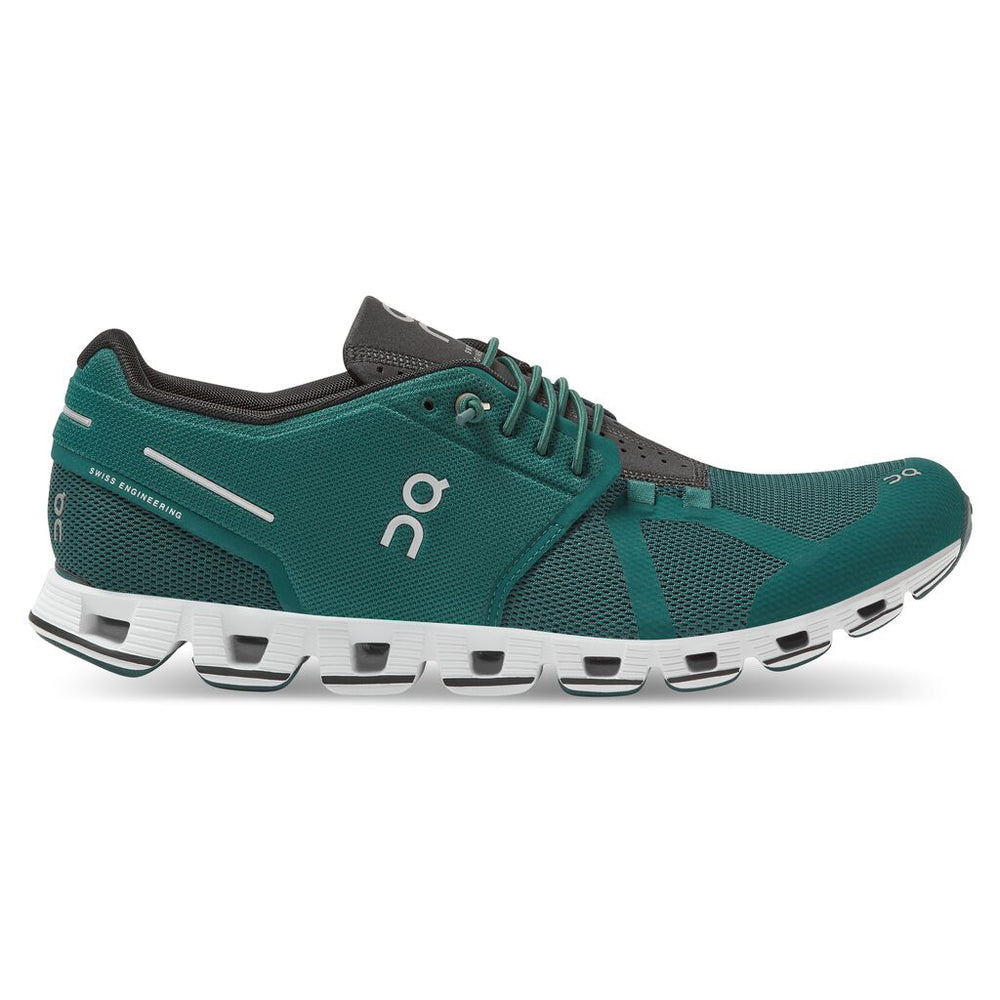 On Men's Cloud Running Shoes Evergreen / Black - achilles heel