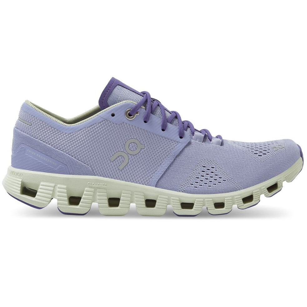 On Women's Cloud X Running Shoes Lavender / Ice - achilles heel