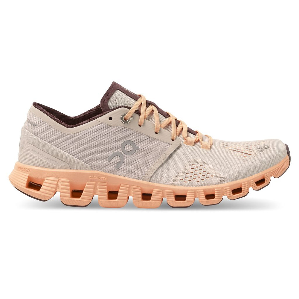 On Women's Cloud X Running Shoes Silver / Almond - achilles heel
