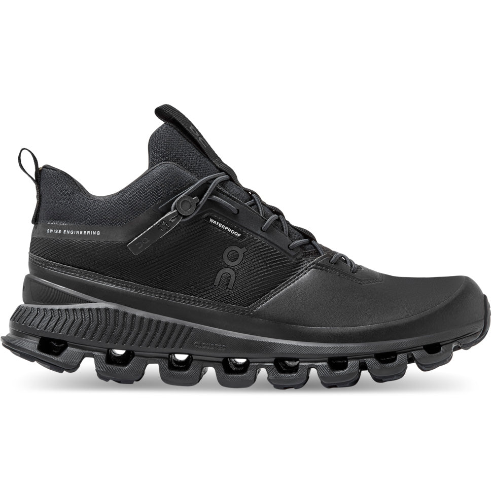 On Women's Cloud Hi Waterproof Black - achilles heel
