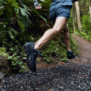 On Men's CloudVenture Waterproof Trail Running Shoes Black / Graphit - achilles heel