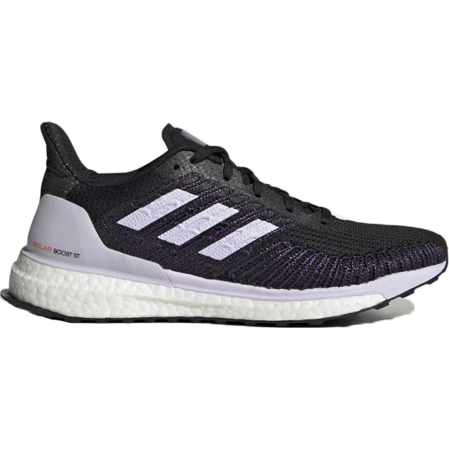 adiads Women's Solar Boost ST 19 Running Shoes Core Black / Purple Tint / Solar Red - achilles heel