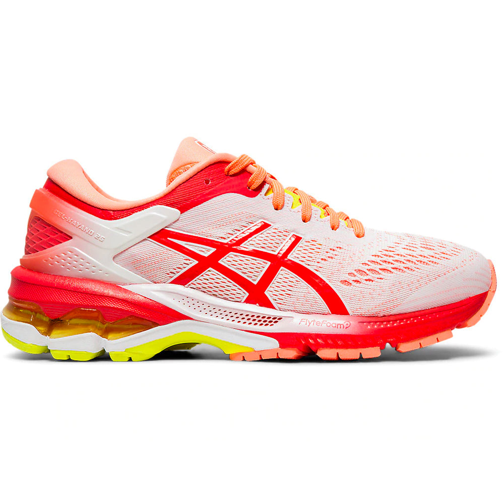 Asics Women's Gel-Kayano 26 Kai Running Shoes White / Laser Pink - achilles heel