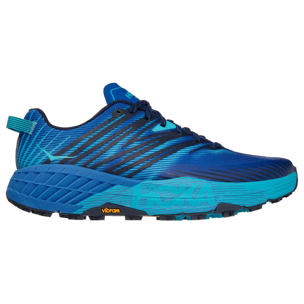 Hoka Men's Speedgoat 4 Trail Running Shoes Turkish Sea Cuba /  Blue - achilles heel