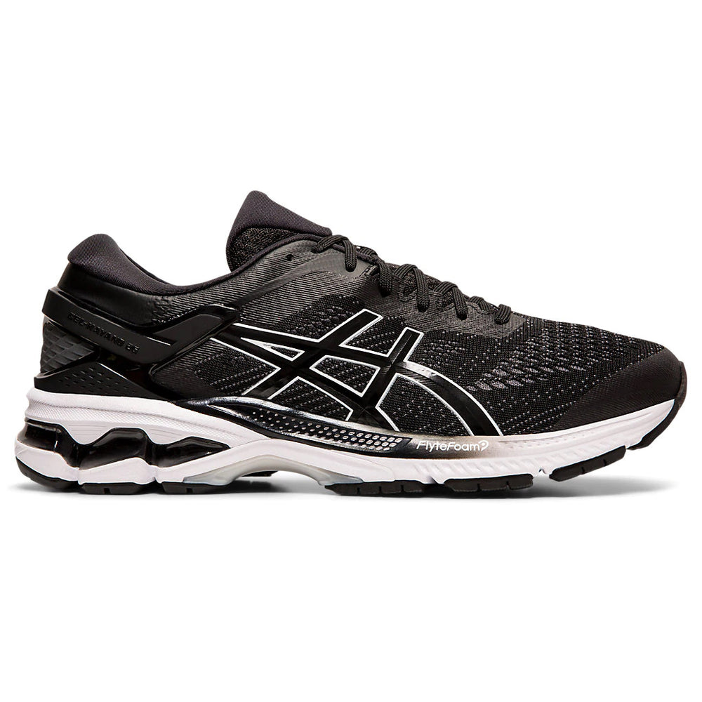 Asics Men's Gel-Kayano 26 Running Shoes Black / White - achilles heel