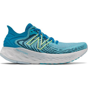 New Balance Women's 1080v11 Running Shoes Virtual Sky / Bleached Lime Glo - achilles heel