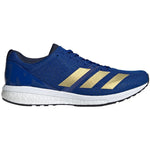 adidas Men's adiZero Boston 8 Running Shoes Colleigate Royal / Gold Metallic / White - achilles heel