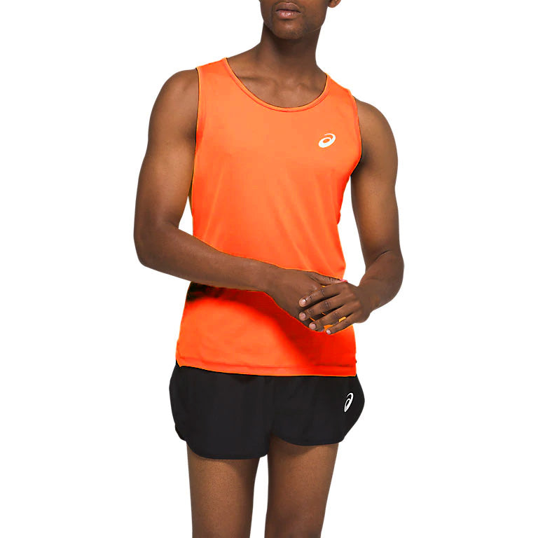 Asics Men's Silver Singlet Orange Pop - achilles heel