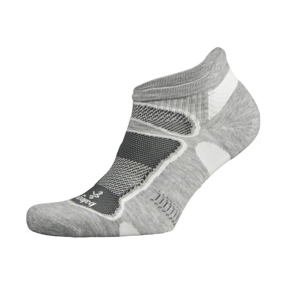 Balega Ultra Light No Show Running Socks Grey /  White - achilles heel
