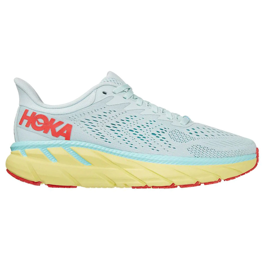 Hoka Women's Clifton 7 Wide Fit Running Shoes Morning Mist / Hot Coral - achilles heel