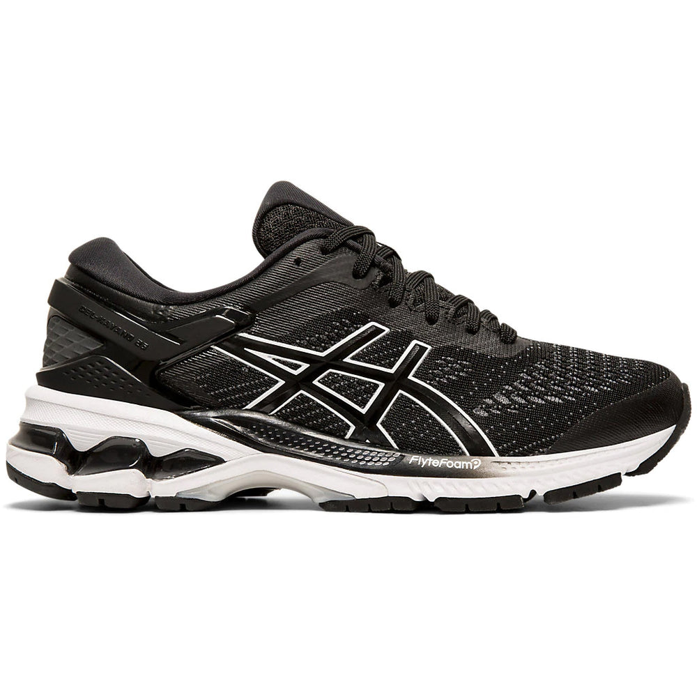 Asics Women's Gel-Kayano 26 Running Shoes Black / White - achilles heel
