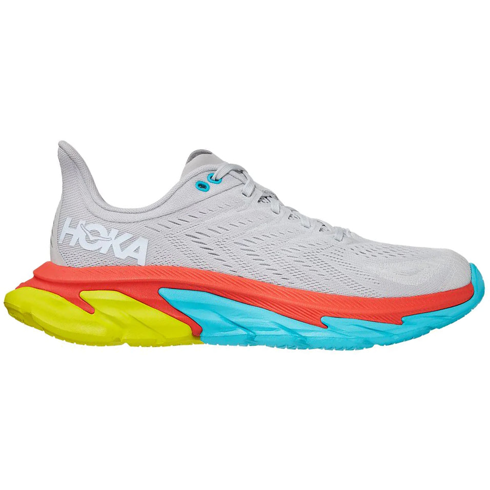 Hoka Men's Clifton Edge Running Shoes Lunar Rock / White - achilles heel
