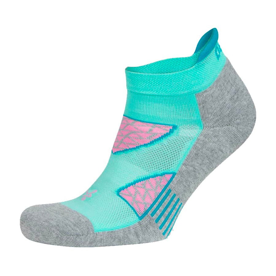 Balega Women's Enduro No-Show Running Socks Aqua / Mid Grey - achilles heel