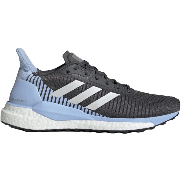 adidas Women's Solar Glide ST 19 Running Shoes Grey / Glow Blue - achilles heel