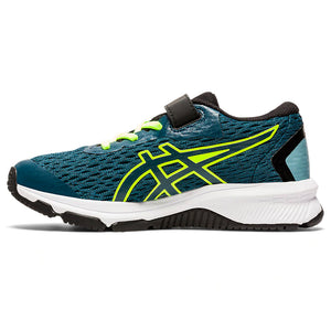 Asics Kids GT 1000 9 PS Running Shoes Magnetic Blue / Safety Yellow - achilles heel