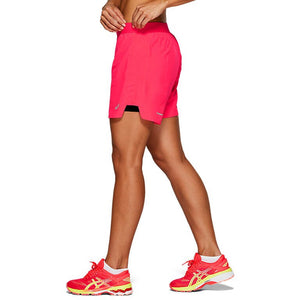 Asics Women's 5.5 Inch 2 in 1 Short Laser Pink / Performance Black - achilles heel