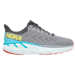 Hoka Men's Clifton 7 Wide Fit Running Shoes Wild Dove / Dark Shadow - achilles heel