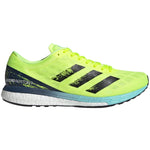 adidas Men's adiZero Boston 9 Running Shoes Solar Yellow / Core Black / Clear Aqua - achilles heel