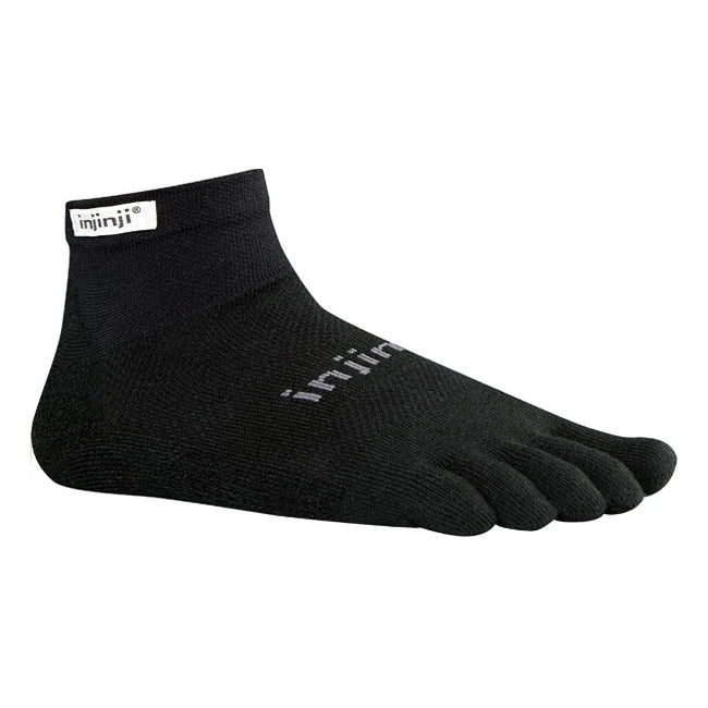 Injinji Run 2.0 Original Weight Mini-Crew Socks Black - achilles heel