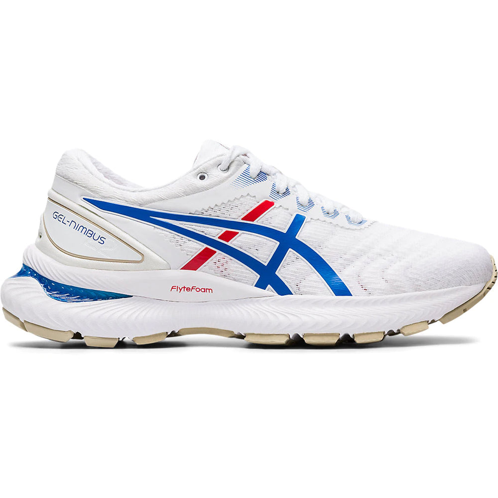 Asics Men's Gel-Nimbus 22 Toyko Running Shoes White / Electric Blue - achilles heel