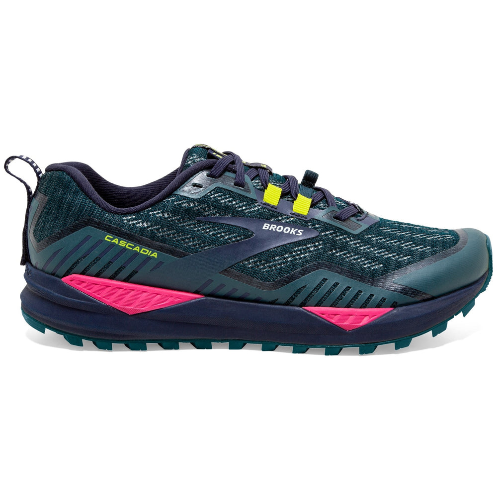 Brooks Women's Cascadia 15 Trail Running Shoes Navy / Pink / Yellow - achilles heel