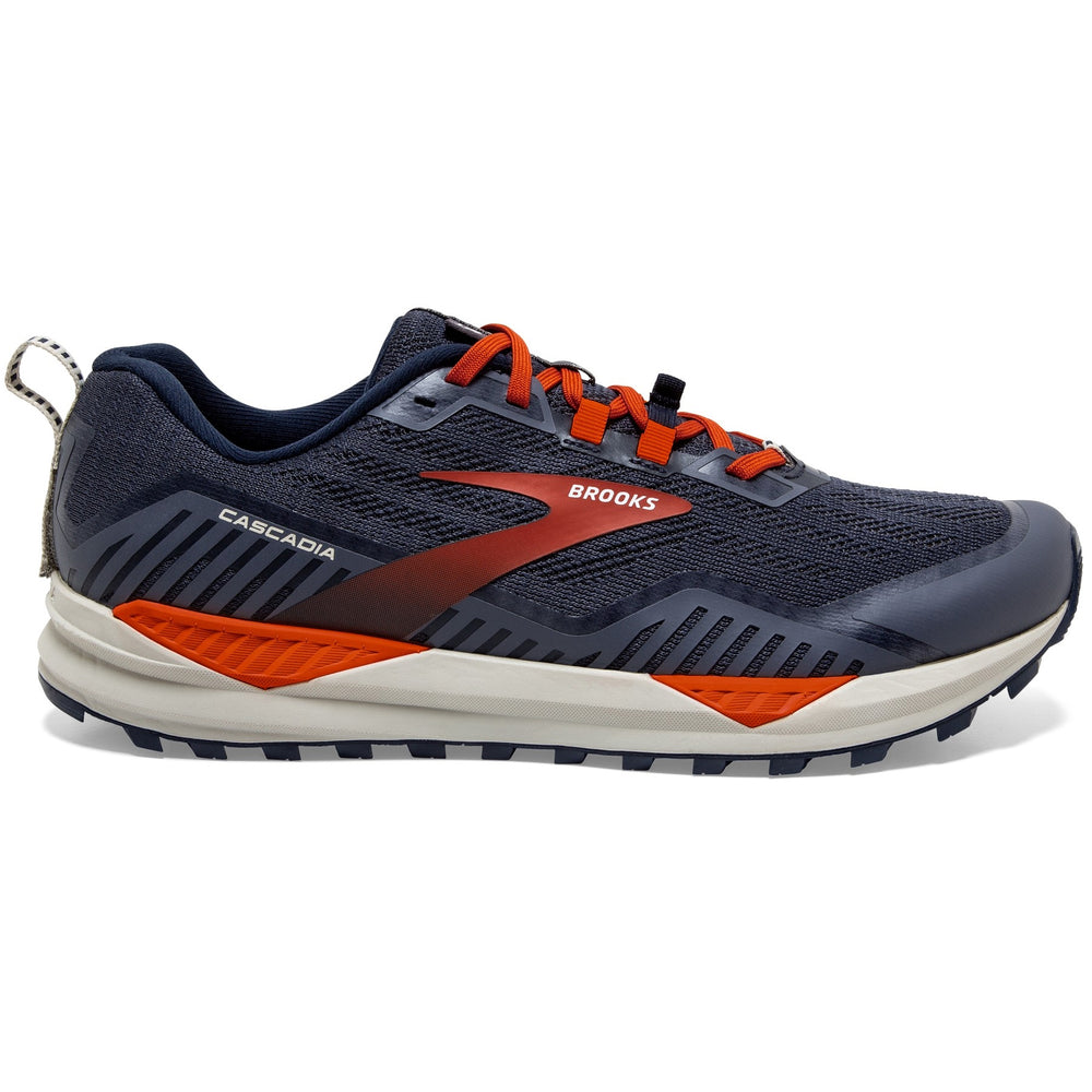 Brooks Men's Cascadia 15 Trail Running Shoes Navy / Orange / Pecan - achilles heel