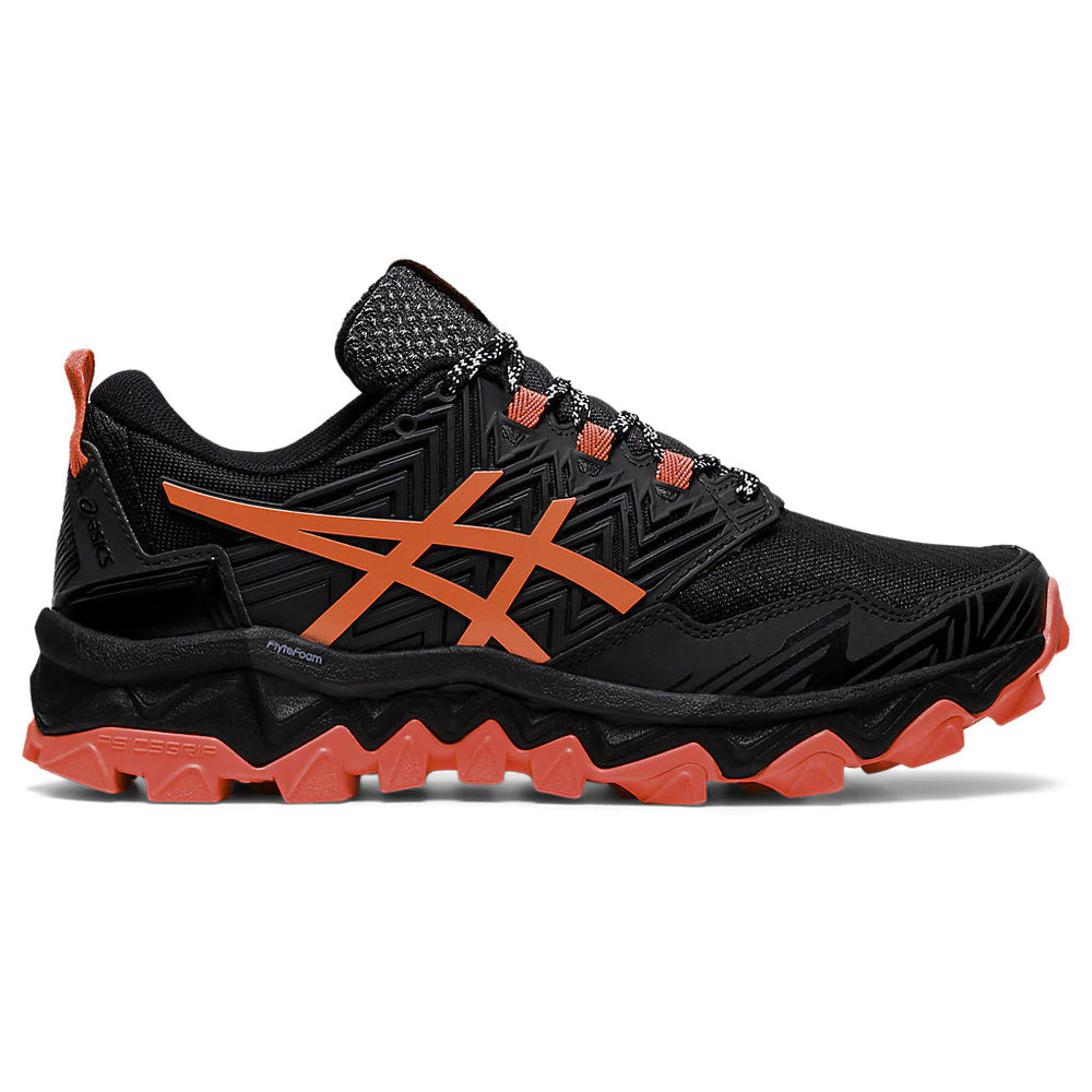 Asics Women's Gel-FujiTrabuco 8 Trail Running Shoes Black / Sunrise Red - achilles heel