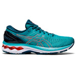 Asics Women's Gel-Kayano 27 Running Shoes Techno Cyan / Sunrise Red - achilles heel