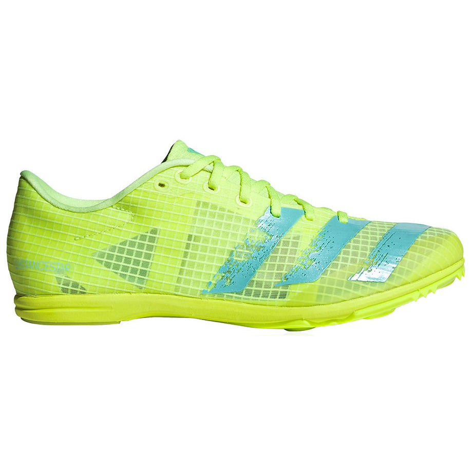 adidas Women's Distancestar Running Spikes Hi-Res Yellow / Clear Aqua - achilles heel