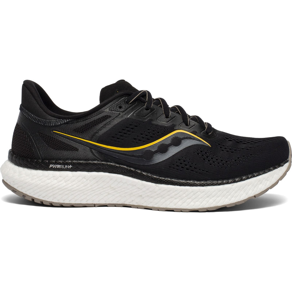 Saucony Men's Hurricane 23 Running Shoes Black / Vizigold - achilles heel