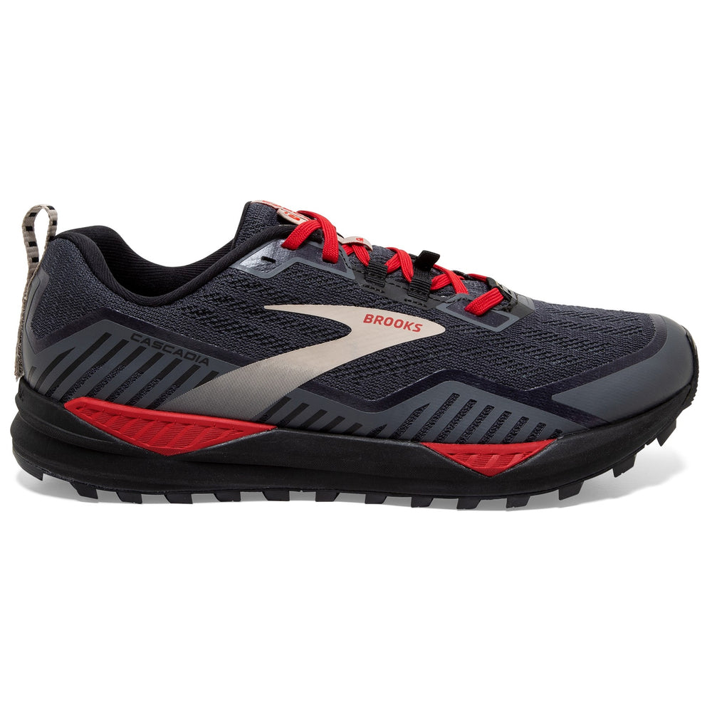 Brooks Men's Cascadia 15 GORE-TEX Trail Running Shoes Black / Ebony / Red - achilles heel