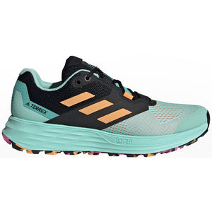 adidas Women's Terrex Two Flow Trail Running Shoes Clear  Mint / Hazy Orange / Screaming Pink - achilles heel