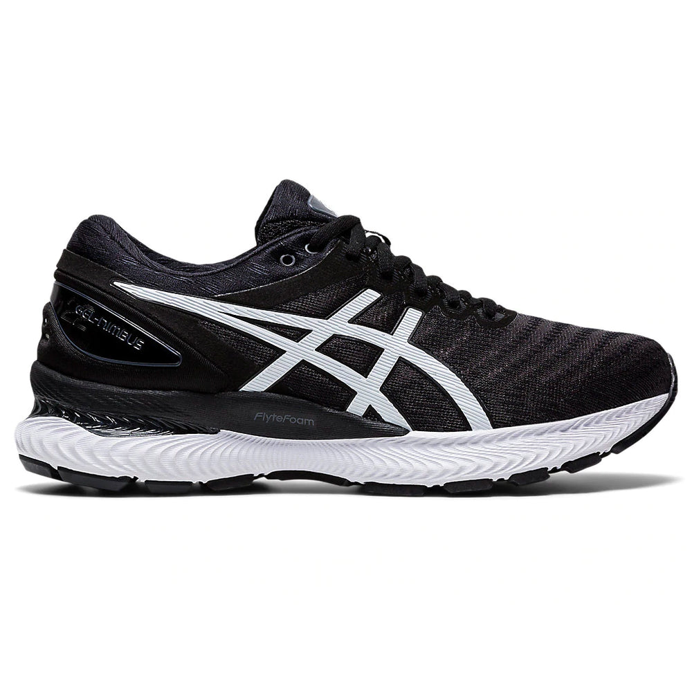Asics Men's Gel-Nimbus 22 Running Shoes Black / White - achilles heel