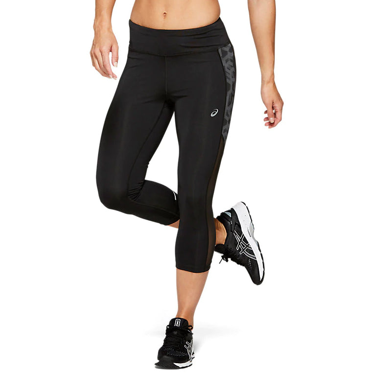 Asics Women's Capri Tight Print Black - achilles heel