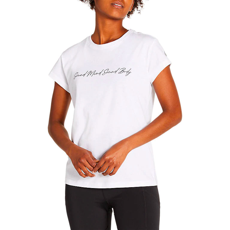 Asics Women's Sound Mind Sound Body Tee II White - achilles heel