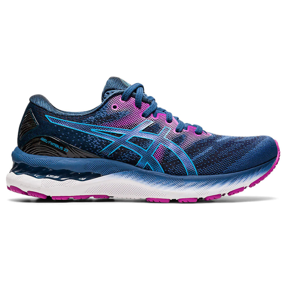 Asics Women's Gel-Nimbus 23 Wide Fit Running Shoes Grand Shark / Digital Aqua - achilles heel